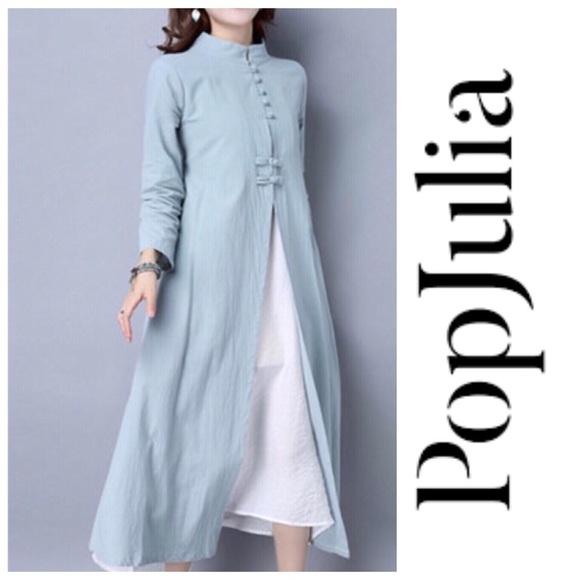 0c63199bd6d03 NWT Pop Julia Miao Green Linen Button Up Dress